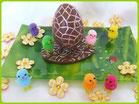 tutoriel oeuf de Pâques en chocolat décoré, petits poussins, chic choc cake boutique en ligne cake design et patisserie pas cher