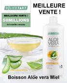 Le GEL D'ALOE VERA MIEL contient 90 % d'Aloe vera, 9 % de miel de fleurs et de la vitamine C. Contacter votre conseiller pour en savoir plus