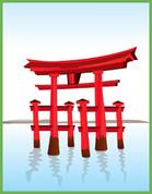 Stilisierter japanischer Tempel