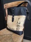 Tote bag cuir véritable noir et toile de jute REF S113