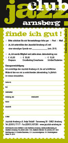 Jazzclub Arnsberg Mitgliedsformular