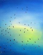 Vogelschwarm 1, 50 x 40 cm, Öl auf Leinwand, 2010