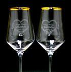 持ち込みペアワイングラスの名入れ彫刻