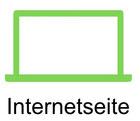 Grafik mit Laptop mit Verlinkung in die Unterseite Internetseite Website.