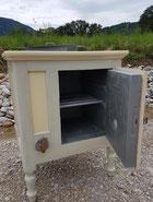Glacière en bois relookée intérieur zinc