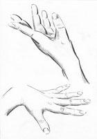 Постановочный рисунок рук выполнен тушью.