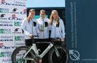 Pauline, Lea W. und Jule N. beim Sieg in der Regionalliga Gütersloh