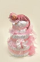 Милый  спящий тигрёнок , детские вещи и погузники - замечательный подарок на рождение.
