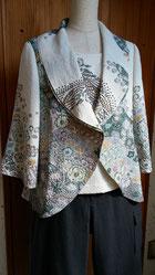 絞りの着物からジャケットとインナー