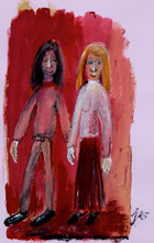 Mann und Frau, Gouache, Tusche auf lila Briefumschlag