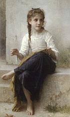 En cousant (peinture de William Bouguereau - XIXe siècle)
