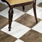 A marble floor with a white and chocolate checkerboard pattern