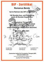Romanus Benda - Zertifikat Deutsches Institut für Provokative Therapie
