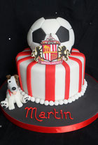 2 tier Sunderland AFSC birthday cake with football