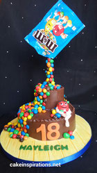 M&M gravity defying birthday cake