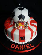 Sunderland SAFC cake with football and SAFC badge