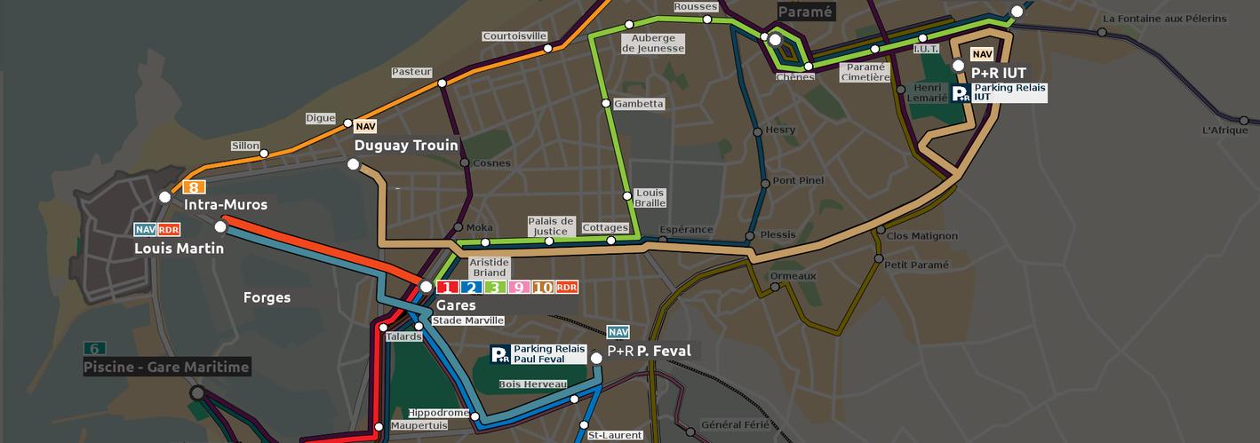 Plan faisant figurer les deux lignes navettes du réseau MAT de Saint-Malo Agglomération mises en place pendant la Route du Rhum 2018.