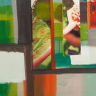 Mischtechnik abstrakte Malerei Organische Formen, Grün, Rot, Braun