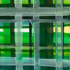 Monika Humm, abstrakte Acrylmalerei, Gitterstrukturen in Grüntönen