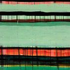 Monika Humm, abstrakte Acrylmalerei in den Farben Grün, Rot und Schwarz