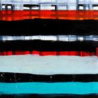 Monika Humm abstrakte Oelmalerei, Gerüststrukturen  in rot, blau, weiss und schwarz