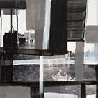 Monika Humm abstrakte Malerei in Mischtechnik aus der Global- Men at Work Serie