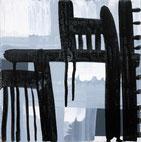 Monika Humm abstrakte Acrylmalerei in graublau und schwarz