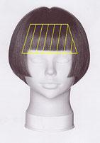 ストレートパーマの施術範囲が前髪~こめかみまでのイラスト