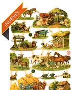 Cromos de animales de caballos, conejos, leones, peces...