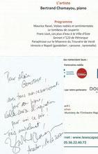 """""""Alain Genestoux tous mes remerciements pour son piano, réelle source d'inspiration pour moi ce soir ! """"Bertrand Chamayou près de Bordeaux Arcachon 33120"""