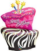Folienballon rund rosa pink Zebra Kerzen Torte Geburtstagstorte Kuchen Konfetti Frau Mädchen Heliumballon Kindergeburtstag Geburtstag Deko Dekoration Party Bouquet Ballon Luftballon Happy Birthday