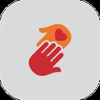 Icon SAPV Spezialisierte Ambulante Palliativ-Versorgung: Zwei Hände mit Herz