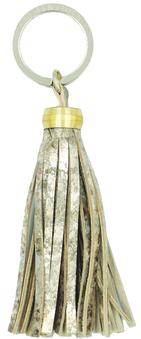 Porte clé en cuir - pompon doré marbré- bijoux de sac L'Insolente Paris