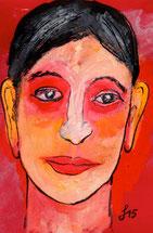 Weibliches Gesicht, Tusche und Gouache auf rotem Briefumschlag