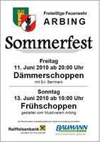 Flyer Sommerfest 2010 FF Arbing