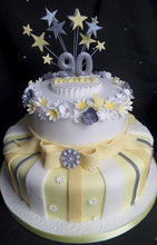 Ladies 90th Birthday cake in white, grey and lemon