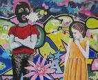 """""""Die Maske"""" 2018, Acryl/Baumwolle 90x110 cm"""