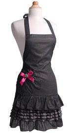 Sexy Frauenschürze in Schwarz mit gerüschten Volants und rosa Schleife