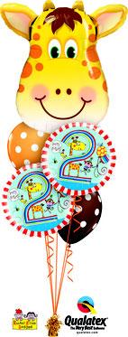 Folienballon Ballon Luftballon Heliumballon Strauß Ballonstrauß Bouquet Geburtstag Junge Mädchen 1 2 3 4 5 6 Rachel Ellen Punkte Giraffe Kindergeburtstag Deko Dekoration Mitbringsel Überraschung Party Feier Tiere Versand verschicken