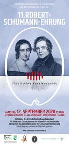 Flyer zur 11. Robert-Schumann-Ehrung am 12.09.2020