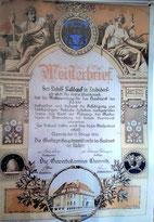 Bild: Meisterbrief Bäcker Baldauf 1935