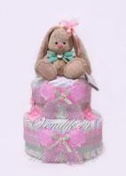 Розовый торт из памперсов  с милым Зайкой Ми