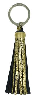 Porte clé en cuir - pompon doré et noir - bijoux de sac L'Insolente Paris