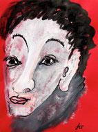 Männliches Gesicht, Tusche und Gouache auf rotem Briefumschlag
