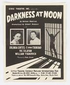 Locandina teatrale di una messinscena americana di Buio a mezzogiorno, opera utilizzata dalla propaganda statunitense in chiave anticomunista.