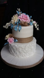 2 Tier Vintage style Wedding cake with blue and blush/pink flowers  and burlap ribbon