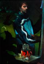 """Lukas Johannes Aigner, """"Selbstportrait mit Kaktus"""" Acryl/Öl auf Leinen, kaschiert auf MDF, 100x70, 2001"""