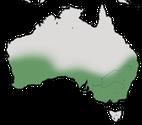 Karte zur Verbreitung des Rotlappen-Honigfressers in Australien.