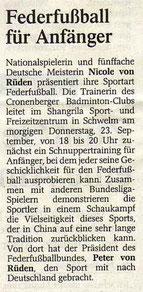 Westdeutsche Zeitung Bericht vom 22.09.2004