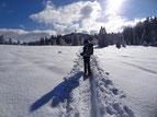 La Pesse, Jura, balade en raquettes à neige, Bâtons raquettes, guêtres,